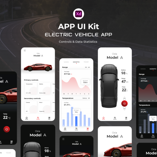 Electric Vehicle Smart App UI Kit