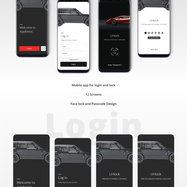 Electric Vehicle Login and Lock XD UI Kit